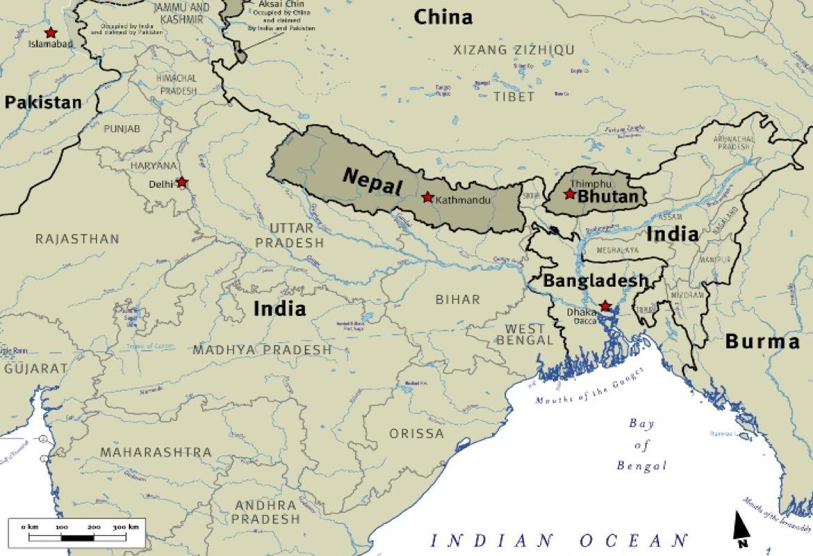 Bhutan Maps Map of Bhutan Relative to Its